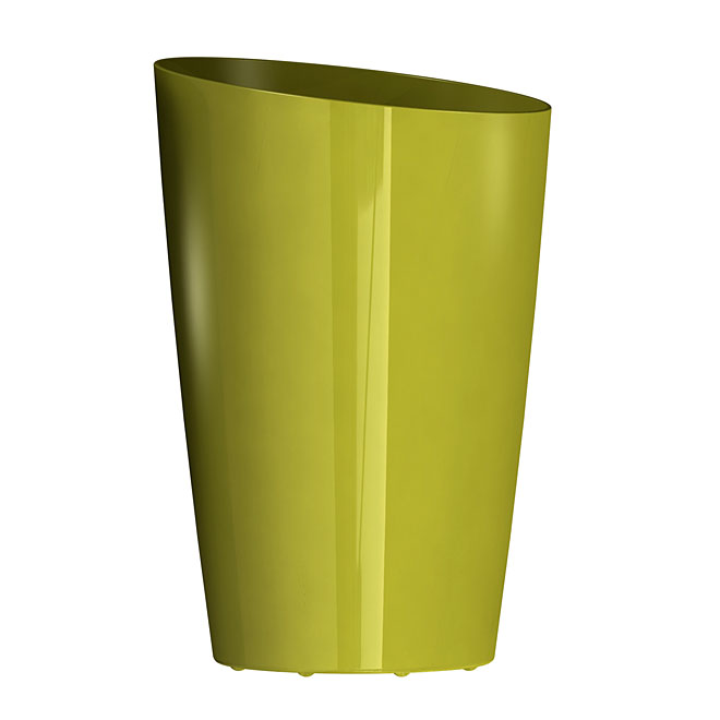 DCN Mirage - Tall Slanted Plastic Planter - 13-in x 19.5-in - Gloss Avocado