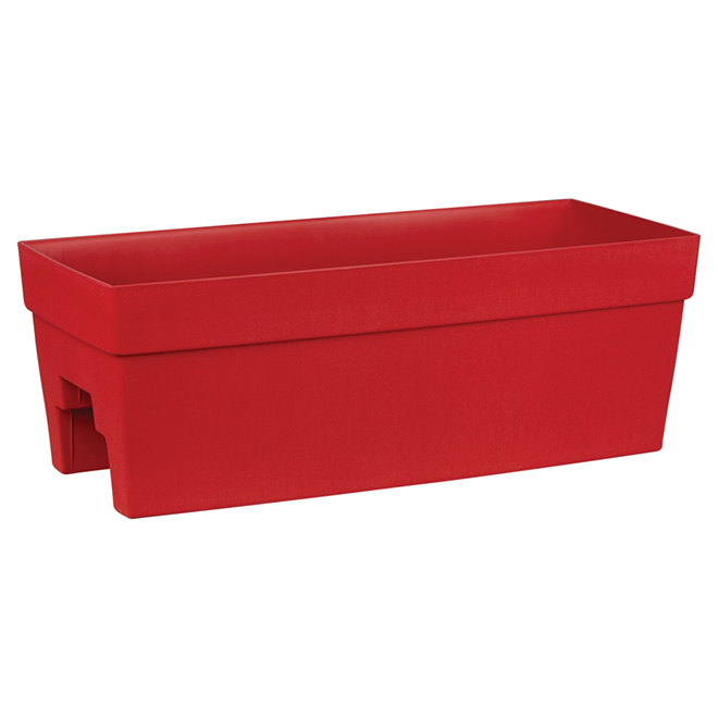 DCN Harmony Plastic Rail Planter - 27-in - Red