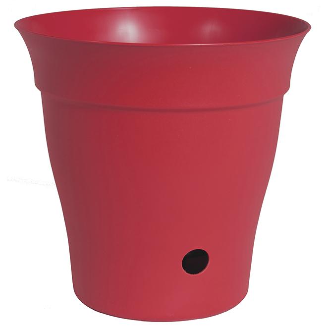 Contempra Plastic Planter - 8-in - Flat Red