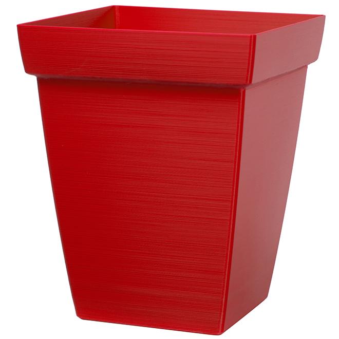 """Square Planter - 11"""" - Plastic - Red"""