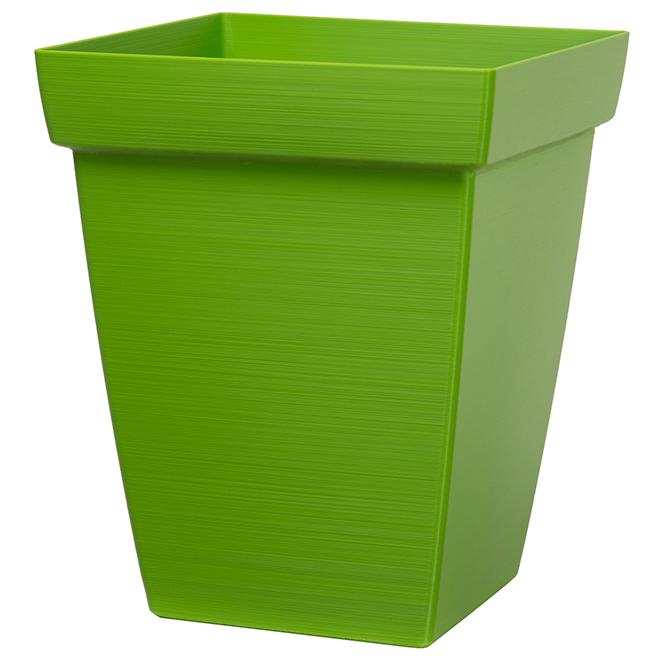 """Jardinière carrée, 11"""", plastique, vert"""
