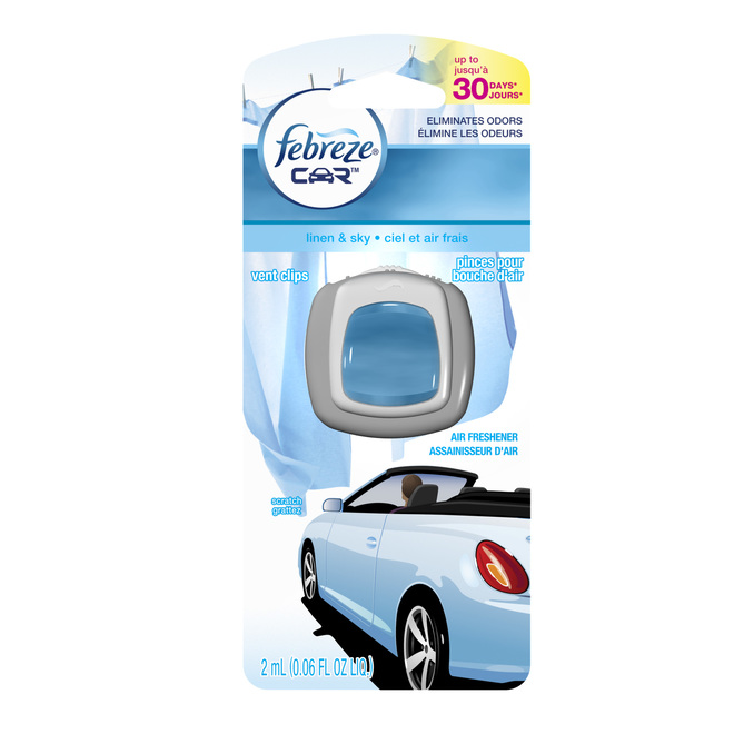 Vent Clip Car Air Refreshener - Linen and Sky Scent - 2ml