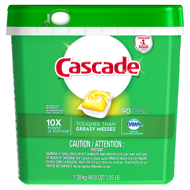 Cascade Dishwasher Detergent - Lemon Scent - 90 Action Pacs