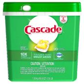 Cascade Dishwasher Detergent - Lemon Scent - 90 Action Pacs