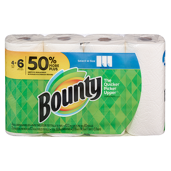 "Bounty ""Select-A-Size"" Paper Towels - 2-Ply - 4 Rolls"