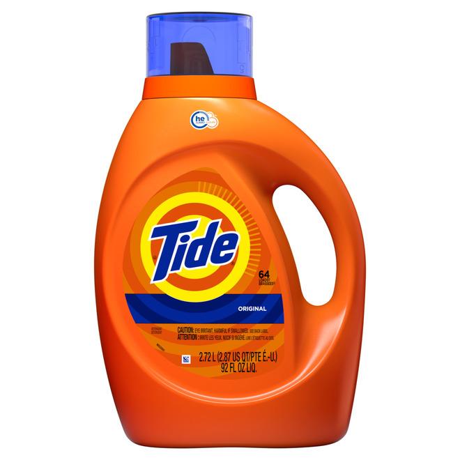 Détergent à lessive HE Tide, 92 oz, parfum original