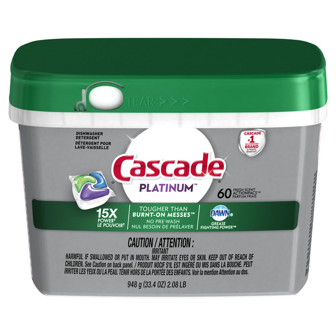 Cascade Platinum Dishwasher Detergent - 60 ActionPacs - Fresh Scent