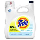 Détergent à lessive liquide Tide free & gentle, 4,55 l