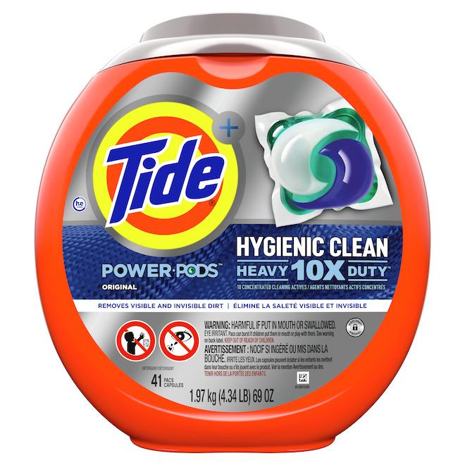 Détergent à lessive en capsules Tide Hygiene Clean Heavy 10x Duty parfum original, 41/pqt