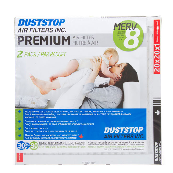 Duststop 20-in x 20-in x 1-in Premium Electrostatic Pleated Air Filter - 2/Pack