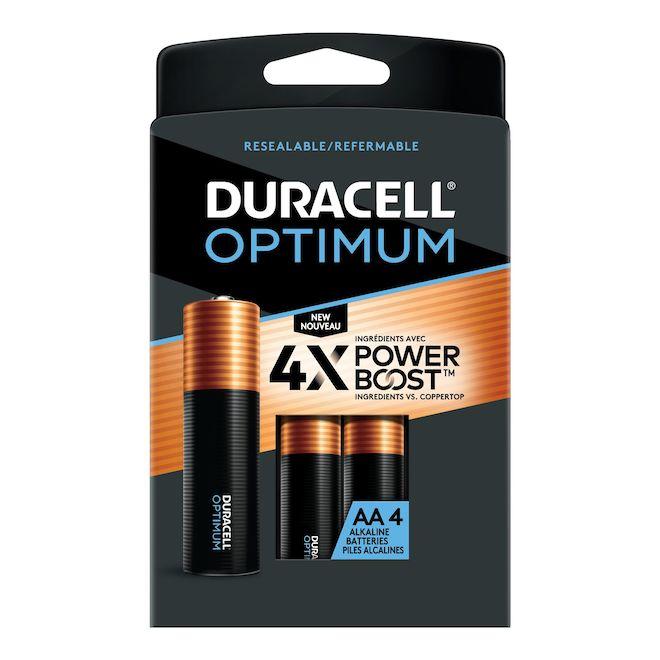 Piles alcalines AA Duracell Optimum, 4/pqt