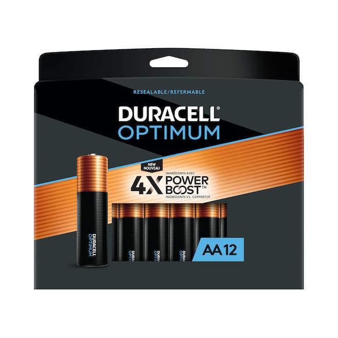 Piles alcalines AA Duracell Optimum, 12/pqt