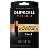 Piles alcalines AAA Duracell Optimum, 4/pqt