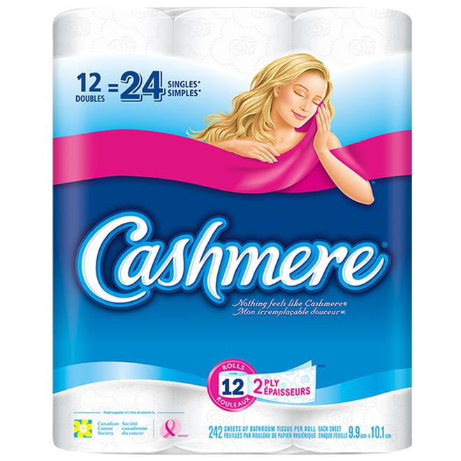 Papier hygiénique, Cashmere, 2 épaisseurs 12 rouleaux, blanc