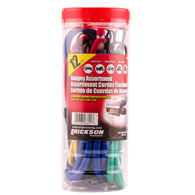 Assortment of 12 Bungee Cords with Hooks