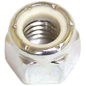 Écrou d'arrêt en acier/nylon, #10-24 pas, zinc, 100/pqt