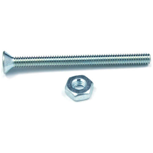 "Flat-Head Machine Screws with Nut - #6 x 1 1/2"" - 10/Box"