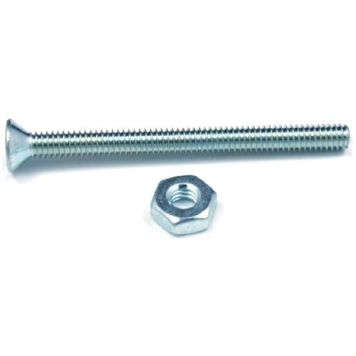"""Flat-Head Machine Screws with Nut - 1/4"""" x 3/4"""" - 8/Box"""