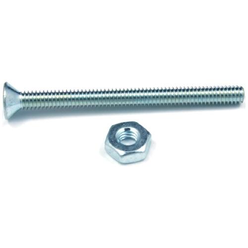 """Flat-Head Machine Screws with Nut - 1/4"""" x 1 3/4"""" - 5/Box"""