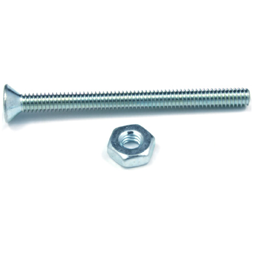 "Flat-Head Machine Screws with Nut - 1/4"" x 4"" - 3/Box"