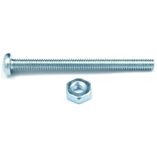 Vis mécanique zinguée à tête cylindrique avec écrou de Reliable, no 6, 2 1/2 po, type B, empreinte quadrex, paquet de 8