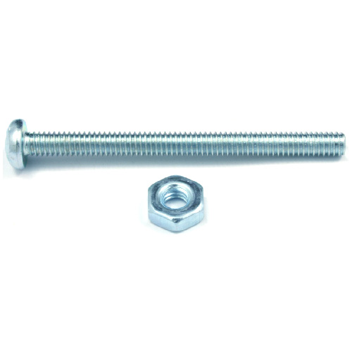 "Pan-Head Machine Screws with Nut - #10 x 1"" - 10/Box"