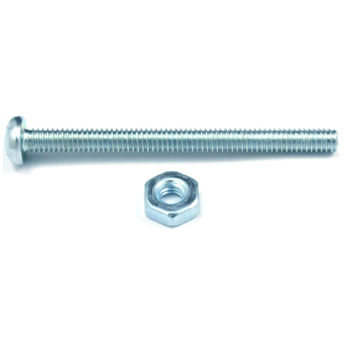 "Pan-Head Machine Screws with Nut - 1/4"" x 3/4"" - 8/Box"