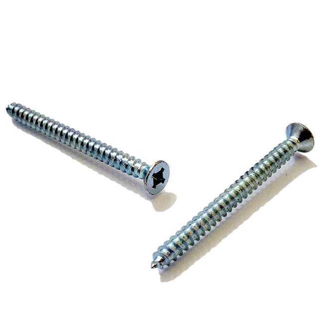 """Flat-Head Zinc-Plated Metal Screws - #6 x 3/8"""" - 100/Box"""