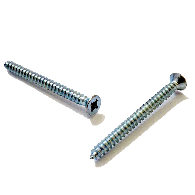 """Flat-Head Zinc-Plated Metal Screws - #8 x 3/8"""" - 100/Box"""