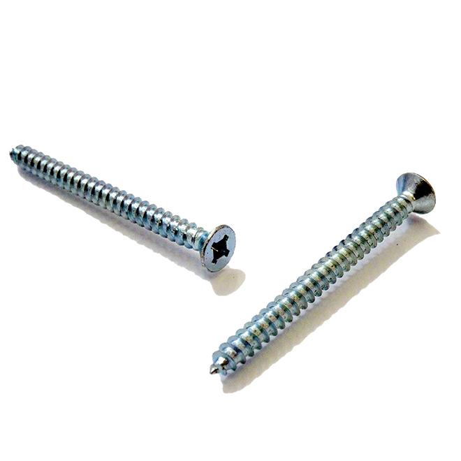 """Flat-Head Zinc-Plated Metal Screws - #8 x 1 1/4"""" - 100/Box"""