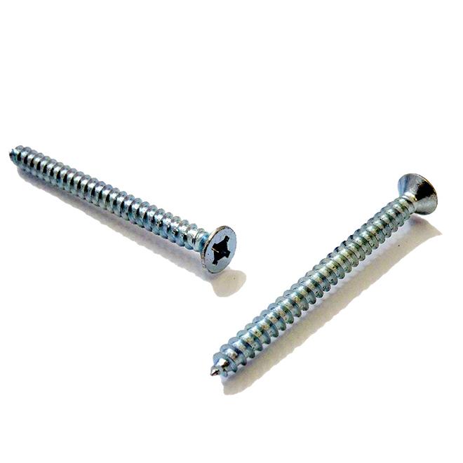 """Flat-Head Zinc-Plated Metal Screws - #8 x 2"""" - 100/Box"""