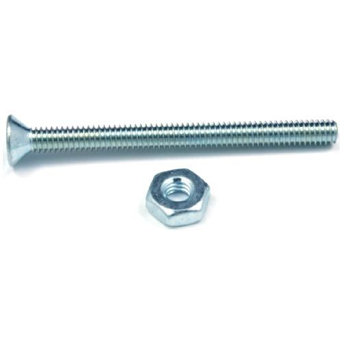 """Flat-Head Machine Screws with Nut - #10 x 3 1/2"""" - 4/Box"""