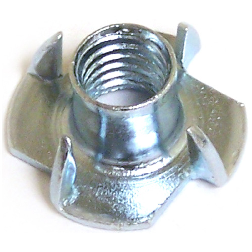 "T-Nut with 4 Prongs - Zinc - 1/4""-20 - 4/PK"