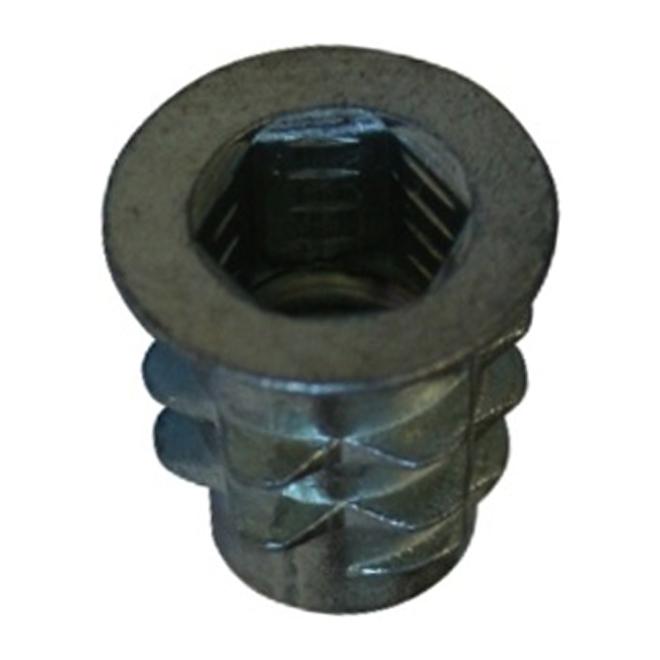 """Type D Insert Nut - Steel - 1/4"""" x 20 mm - Zinc - 4PK"""