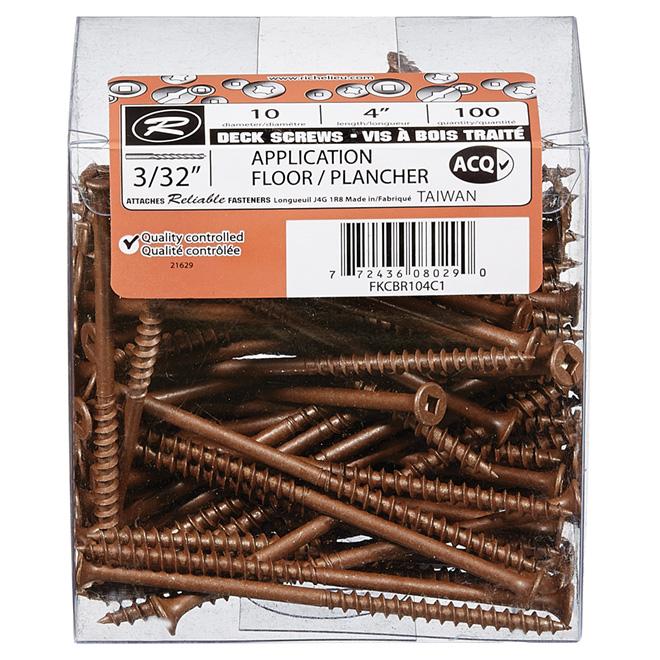 "Bugle-Head Brown Square Deck Screws - #10 x 4"" - 100/Box"