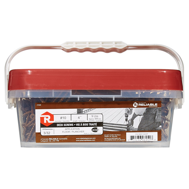 "Bugle-Head Brown Square Deck Screws - #10 x 4"" - 492/Box"