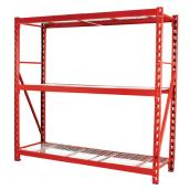 "3-Shelf Industrial Rack 72"" x 77"" - Red"