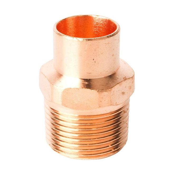 "Straight 3/4"" - 1"" Copper Threaded to Solder Spigot Adapter"