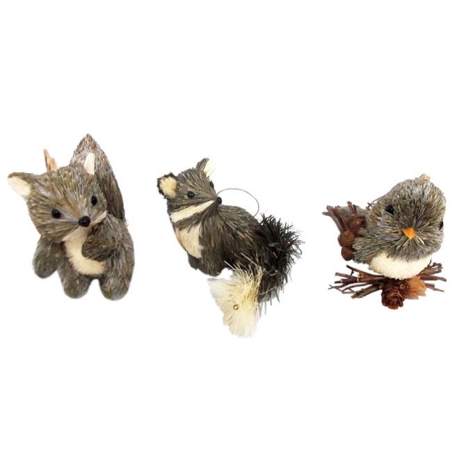 Ensemble de 3 ornements animaux en sisal, 11,75 po