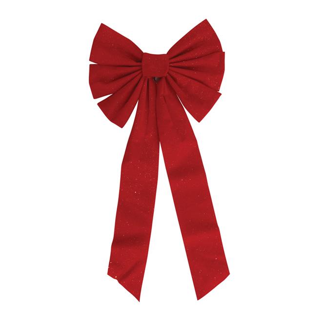 Boucle décorative en velours, 36 po x 14 po, rouge