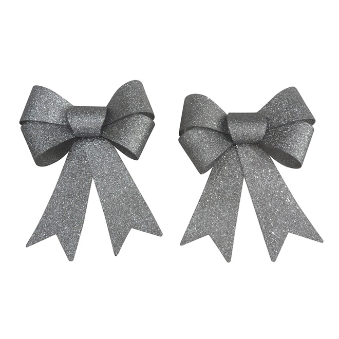 """Decorative Bow - 4"""" - Silver - 2-Pack"""