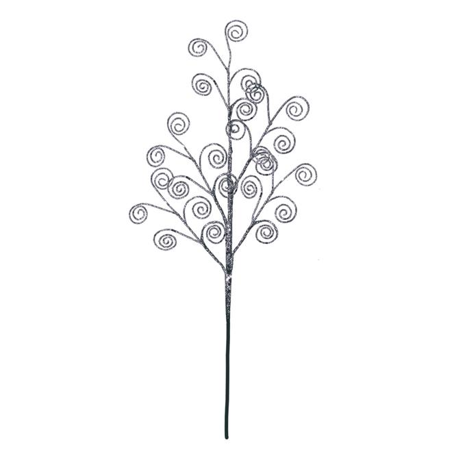 Pic floral brillant, 18 po, argenté
