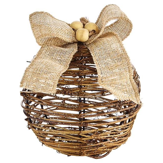 """Christmas Ball Ornament - Rattan - Brown - 5"""" x 6"""""""