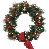 """Battery-Operated Lighted Decorated Artificial Wreath - 30"""""""