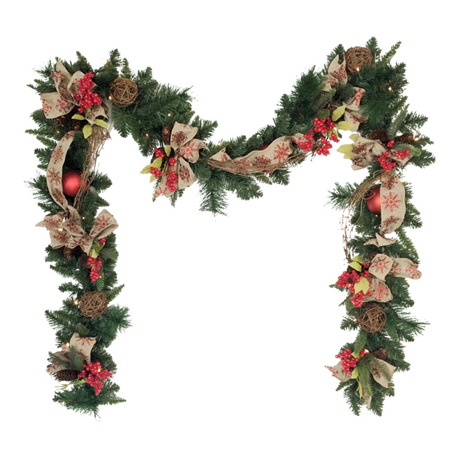 Battery-Operated Pre-Lit Garland - Decorated - 9'