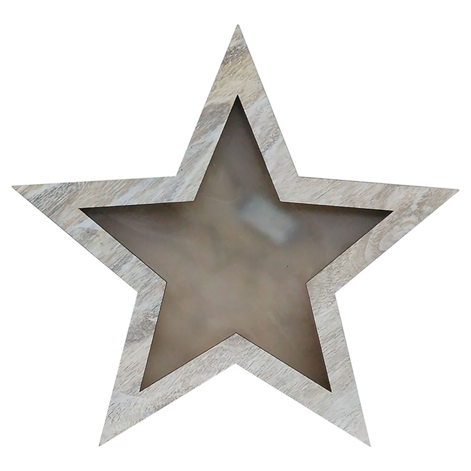 """Battery-Operated Lighted Star Decoration - Brown - 19 3/4"""""""