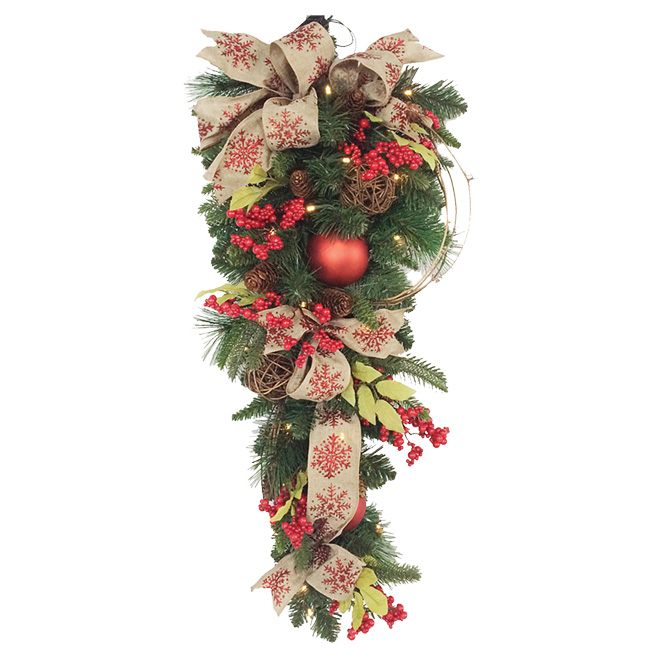 """Battery-Operated  Lighted Decorated Teardrop Wreath - 32"""""""
