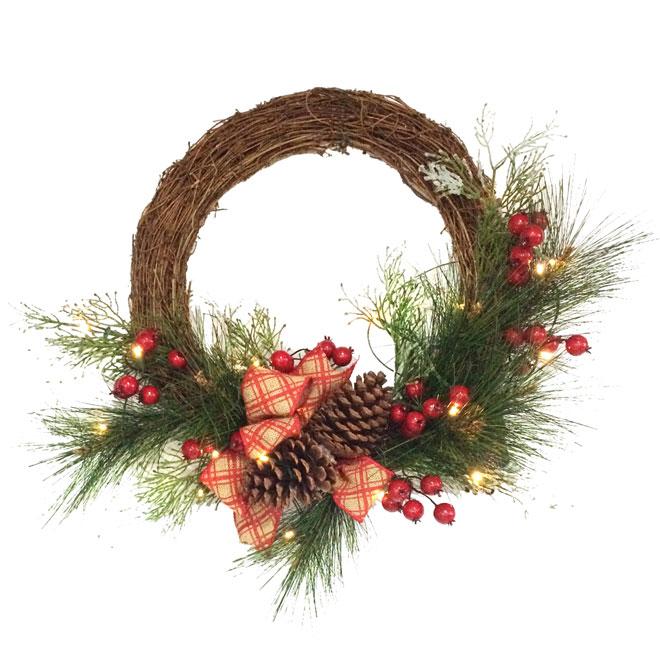 "Decorated Artificial Wreath - Fabric/Plastic - 21"""
