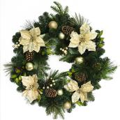 Wreath with Golden Poinsettias - 30""