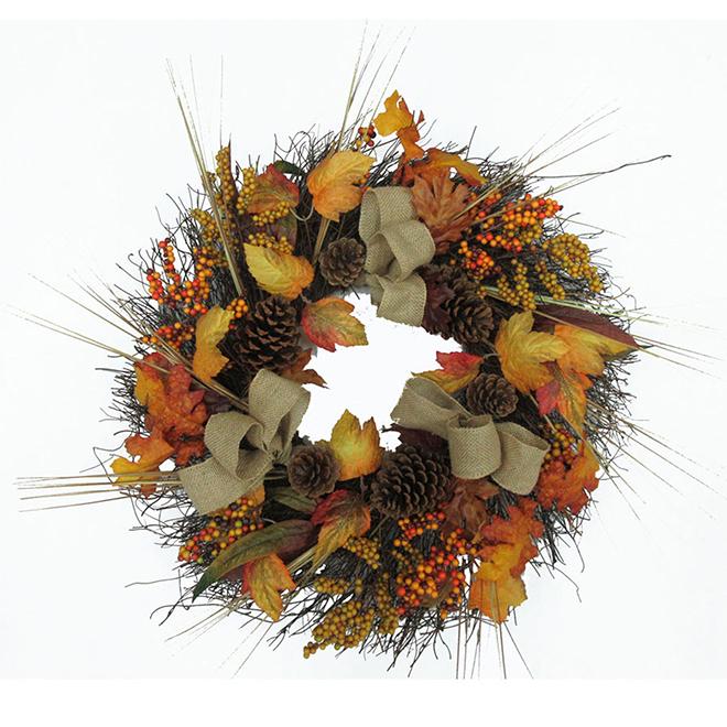 Harvest Burlap Wreath - 24''